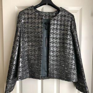 Metallic Open-front Cropped Blazer